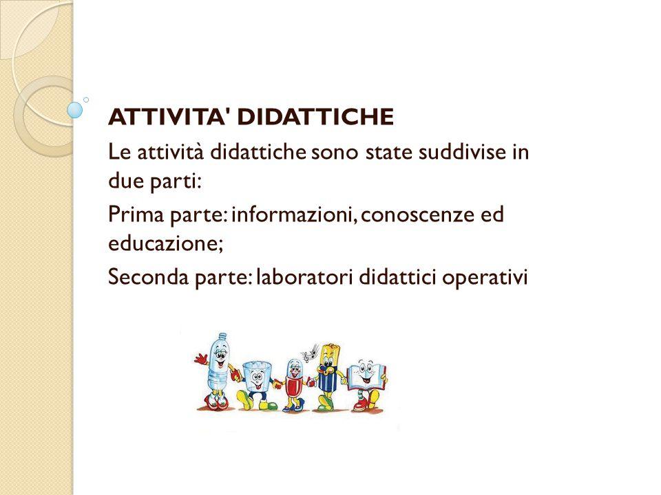 ATTIVITA DIDATTICHE Le attività didattiche sono state suddivise in due parti: Prima parte: informazioni, conoscenze ed educazione; Seconda parte: laboratori didattici operativi