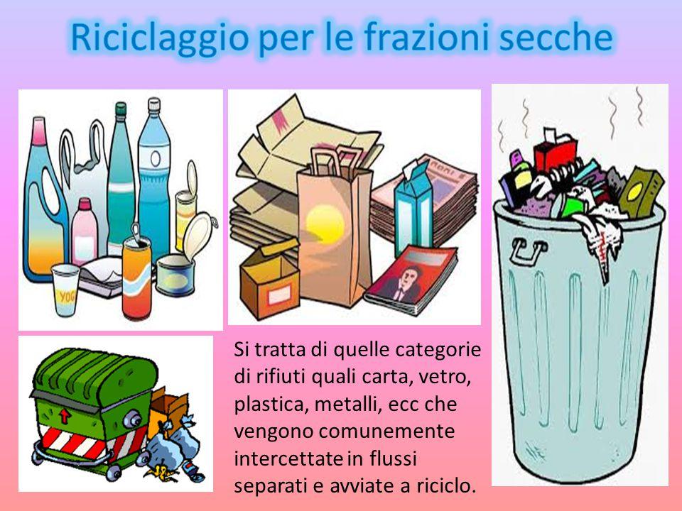Si tratta di quelle categorie di rifiuti quali carta, vetro, plastica, metalli, ecc che vengono comunemente intercettate in flussi separati e avviate