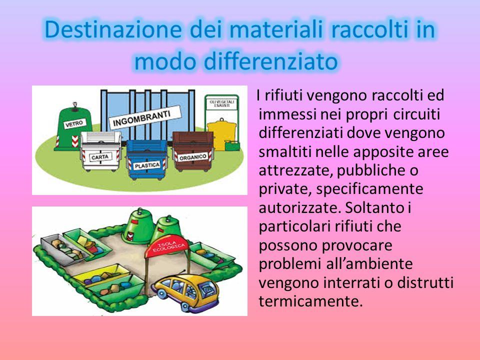 I rifiuti vengono raccolti ed immessi nei propri circuiti differenziati dove vengono smaltiti nelle apposite aree attrezzate, pubbliche o private, spe