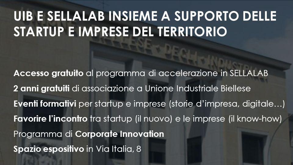 Accesso gratuito al programma di accelerazione in SELLALAB 2 anni gratuiti di associazione a Unione Industriale Biellese Eventi formativi per startup e imprese (storie d'impresa, digitale…) Favorire l'incontro tra startup (il nuovo) e le imprese (il know-how) Programma di Corporate Innovation Spazio espositivo in Via Italia, 8 UIB E SELLALAB INSIEME A SUPPORTO DELLE STARTUP E IMPRESE DEL TERRITORIO