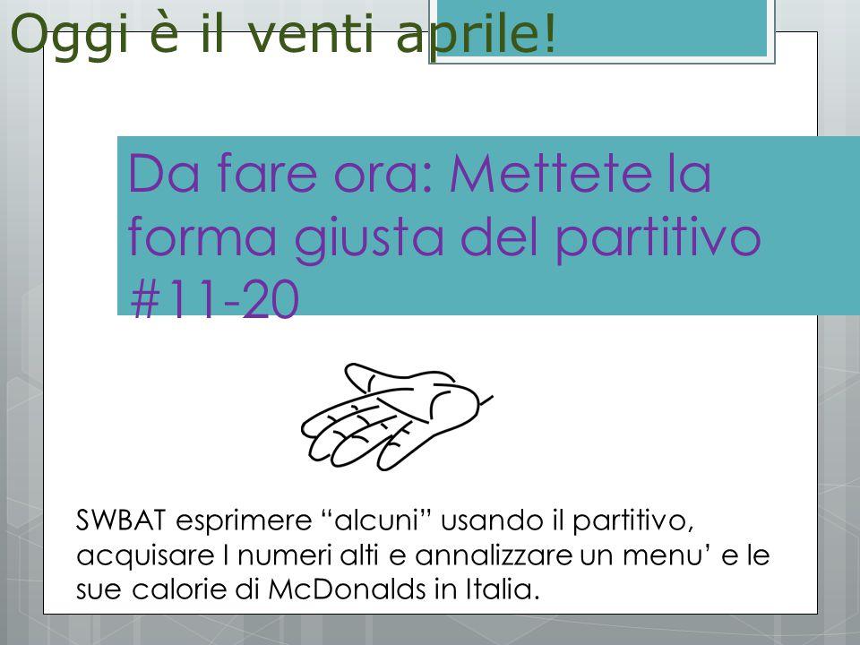 Ripassiamo il compito  Groups and cooking choices SWBAT esprimere alcuni usando il partitivo, acquisare I numeri alti e annalizzare un menu' e le sue calorie di McDonalds in Italia.