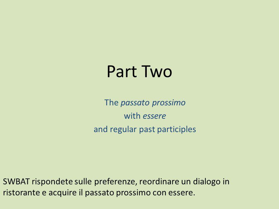 The passato prossimo with essere and regular past participles Part Two SWBAT rispondete sulle preferenze, reordinare un dialogo in ristorante e acquir