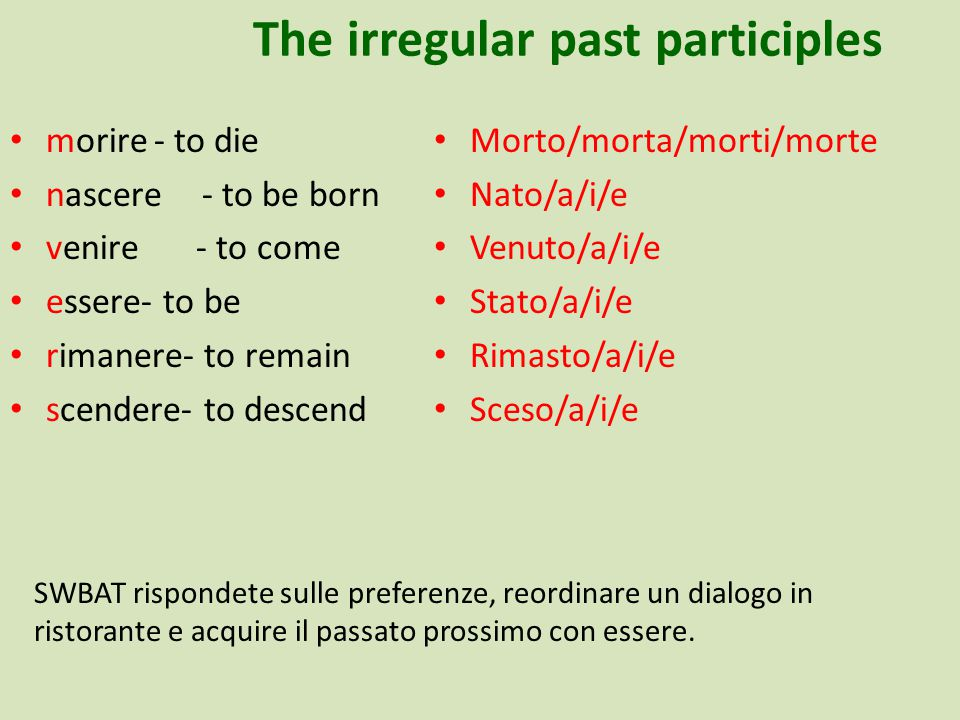 The irregular past participles morire- to die nascere - to be born venire - to come essere- to be rimanere- to remain scendere- to descend Morto/morta