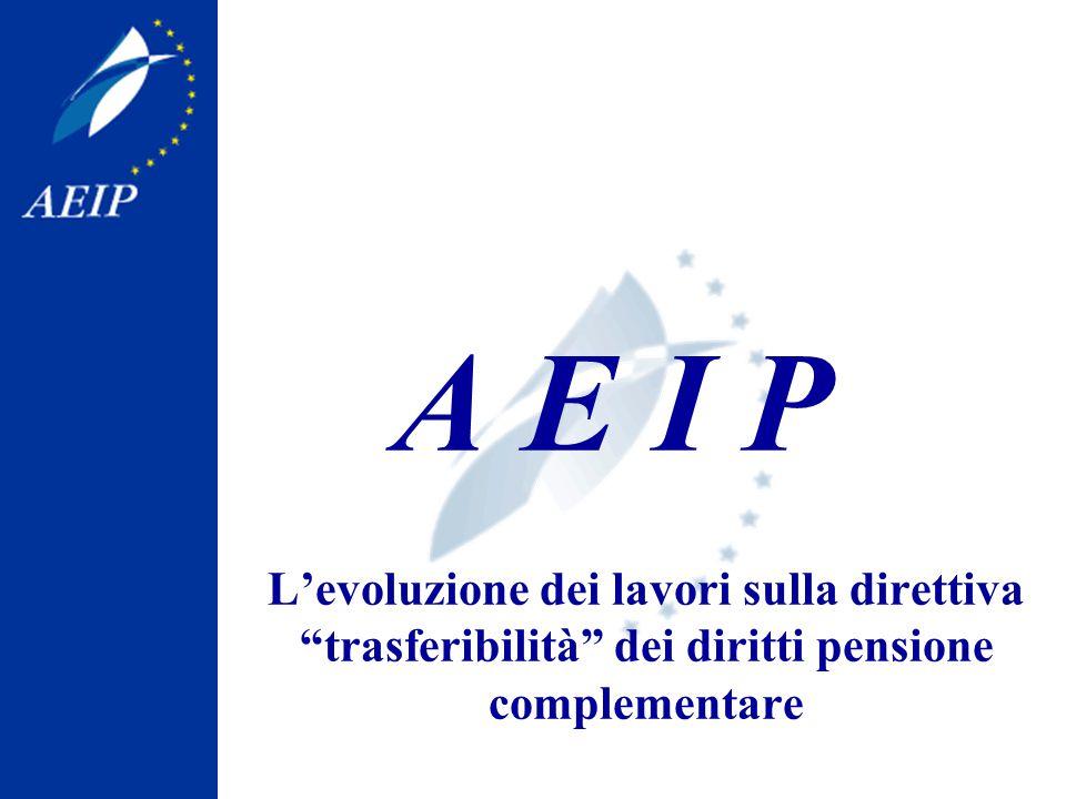 AEIP e la proposta di direttiva L'AEIP (Associazione Europea delle Istituzioni paritetiche di protezione sociale), formata da 28 membri provenienti da 16 Paesi Europei, segue da vicino i lavori su tale proposta di direttiva ed ha già prodotto 2 posizioni comuni; In particolare l'AEIP, rappresentando svariati fondi pensione di tipo complementare –ma tutti rigorosamente gestiti in modo paritetico: dai sindacati e dai rappresentanti dei datori di lavoro- ha spesso constatato all'interno dei suoi gruppi di lavoro le diverse posizioni nazionali su tale progetto di legge, poi riprodotte dagli Stati Membri in sede di Consiglio dell'Unione Europea; Per ulteriori informazioni o presentazioni sull'argomento, l'AEIP dà la propria disponiblità