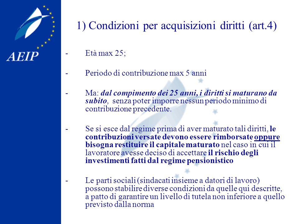 1) Condizioni per acquisizioni diritti (art.4) -Età max 25; -Periodo di contribuzione max 5 anni -Ma: dal compimento dei 25 anni, i diritti si maturano da subito, senza poter imporre nessun periodo minimo di contribuzione precedente.
