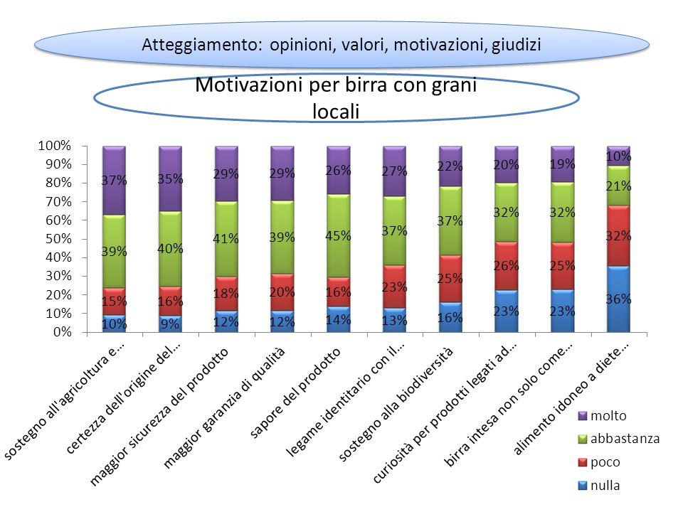 Motivazioni per birra con grani locali Atteggiamento: opinioni, valori, motivazioni, giudizi