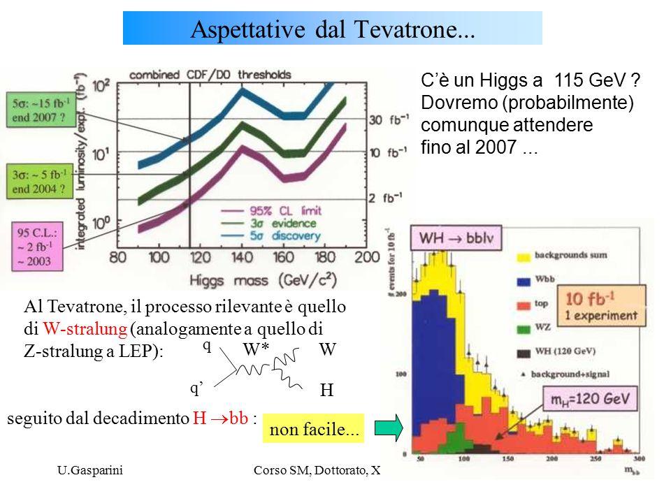 U.GaspariniCorso SM, Dottorato, XX ciclo6 Aspettative dal Tevatrone...