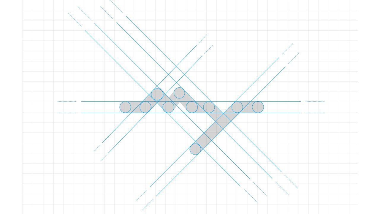 Il logotipo è disegnato anch'esso in stile geometrico, non abbiamo utilizzato una font (carattere tipografico) esistente ma utilizzando sempre cerchi, linee rette e inclinate abbiamo riprodotto il logo con lo stesso stile del marchio.