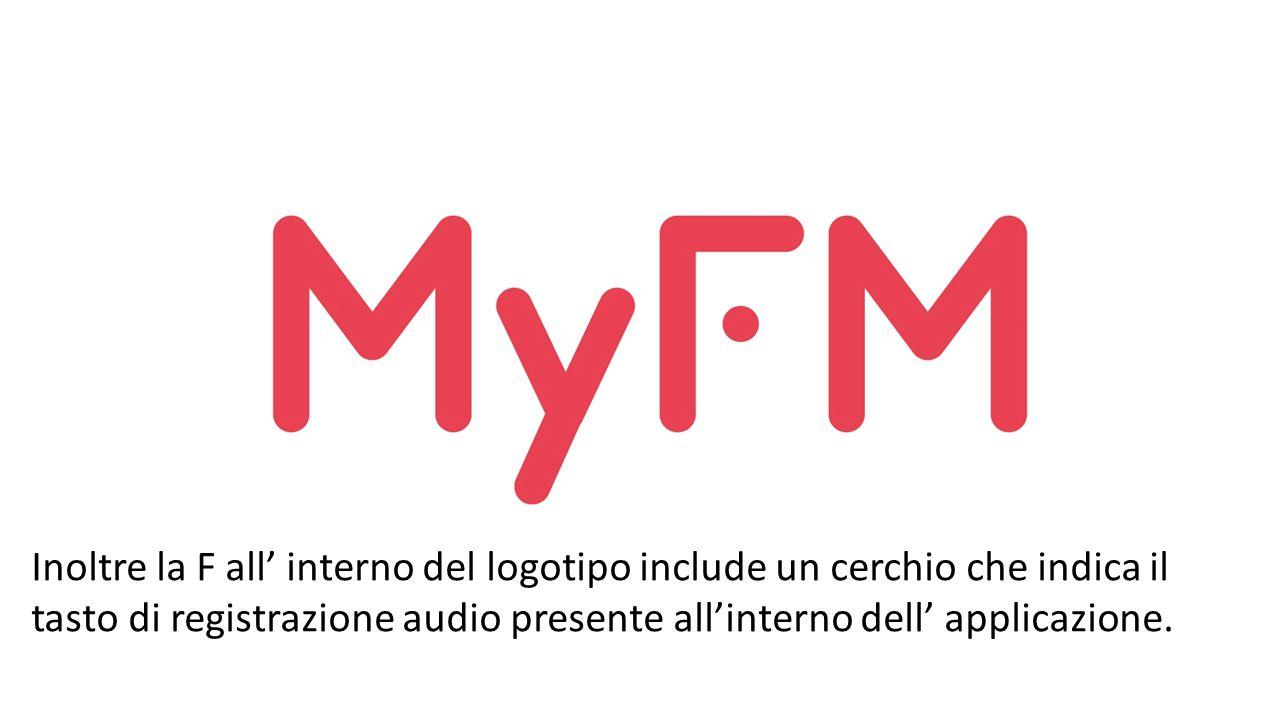 Inoltre la F all' interno del logotipo include un cerchio che indica il tasto di registrazione audio presente all'interno dell' applicazione.