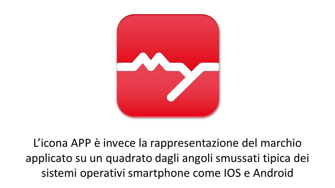 L'icona APP è invece la rappresentazione del marchio applicato su un quadrato dagli angoli smussati tipica dei sistemi operativi smartphone come IOS e