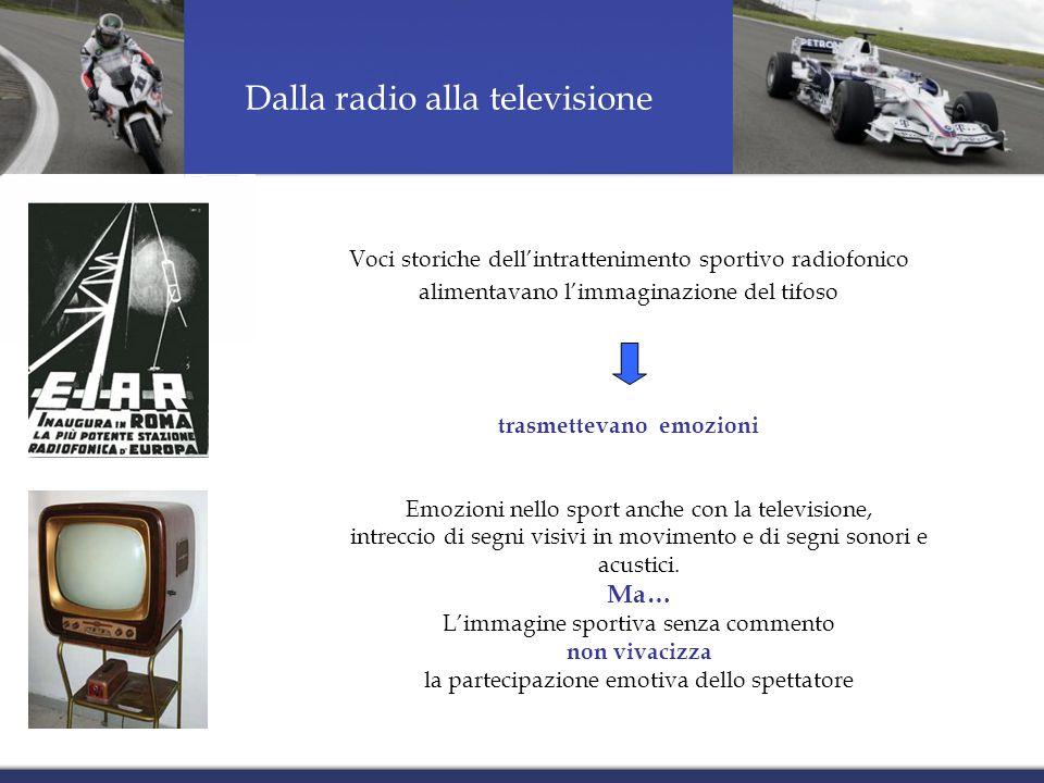Voci storiche dell'intrattenimento sportivo radiofonico alimentavano l'immaginazione del tifoso trasmettevano emozioni Dalla radio alla televisione Emozioni nello sport anche con la televisione, intreccio di segni visivi in movimento e di segni sonori e acustici.