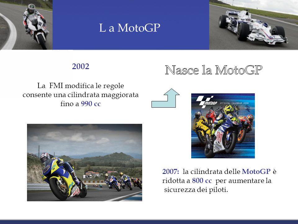 L a MotoGP 2002 La FMI modifica le regole consente una cilindrata maggiorata fino a 990 cc 2007: la cilindrata delle MotoGP è ridotta a 800 cc per aumentare la sicurezza dei piloti.