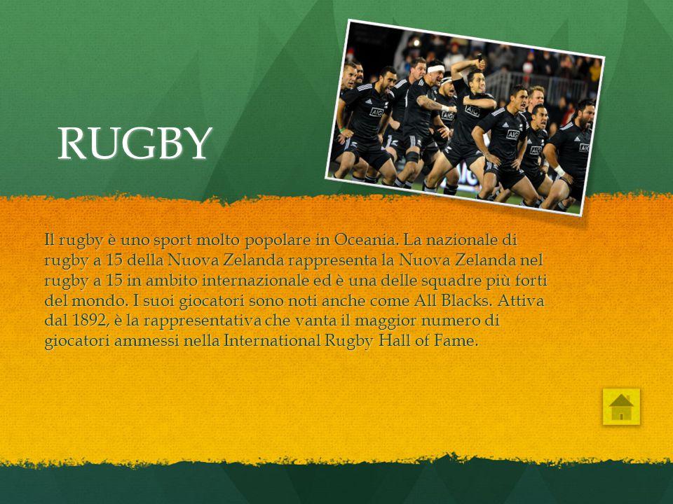 RUGBY Il rugby è uno sport molto popolare in Oceania. La nazionale di rugby a 15 della Nuova Zelanda rappresenta la Nuova Zelanda nel rugby a 15 in am