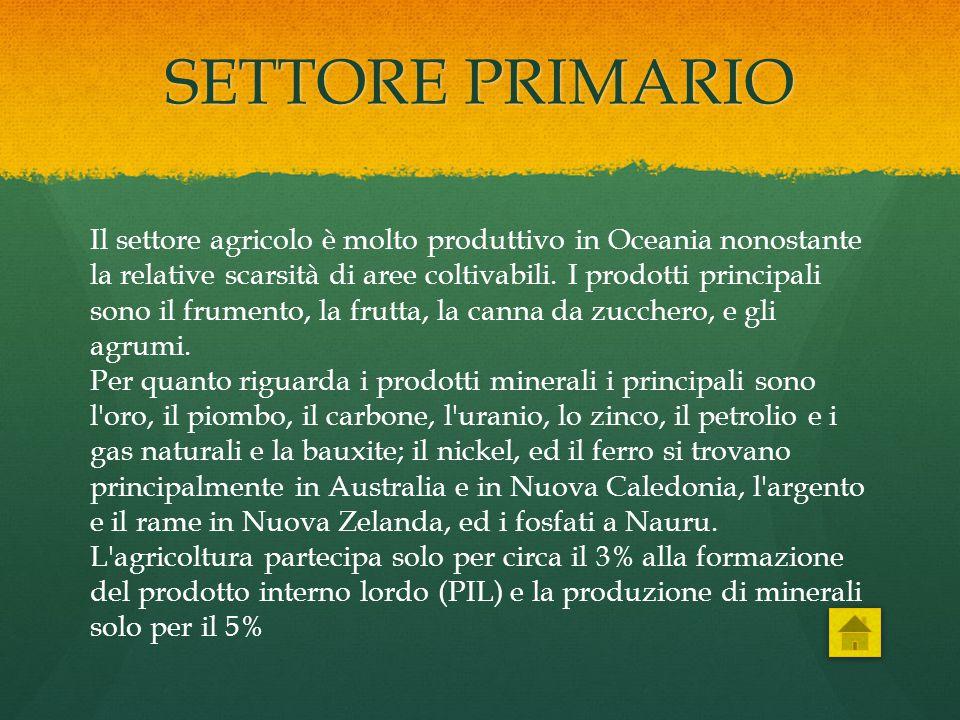 SETTORE PRIMARIO Il settore agricolo è molto produttivo in Oceania nonostante la relative scarsità di aree coltivabili. I prodotti principali sono il