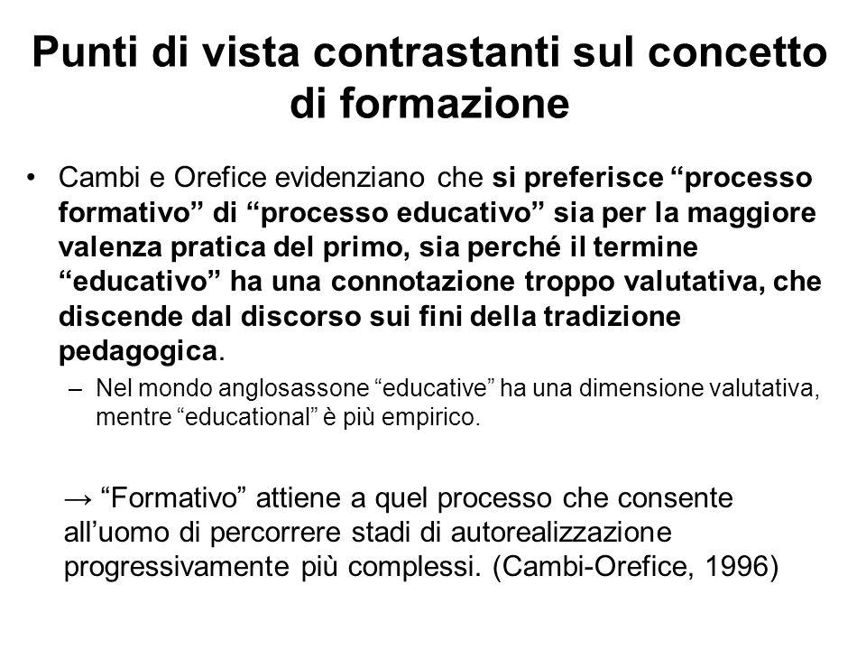 """Punti di vista contrastanti sul concetto di formazione Cambi e Orefice evidenziano che si preferisce """"processo formativo"""" di """"processo educativo"""" sia"""