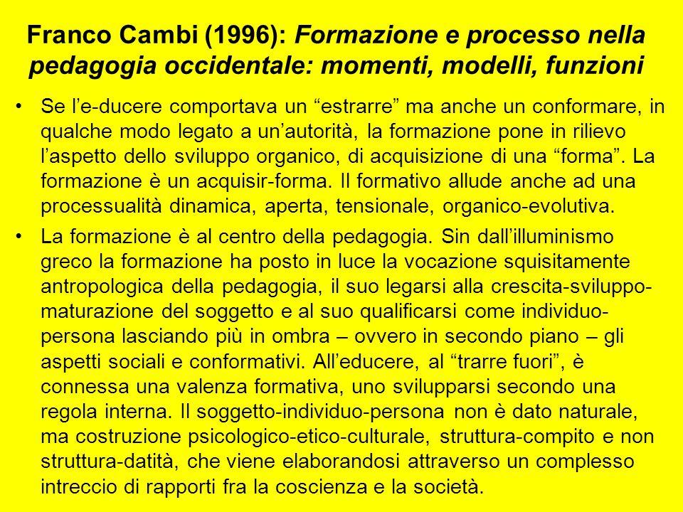 """Franco Cambi (1996): Formazione e processo nella pedagogia occidentale: momenti, modelli, funzioni Se l'e-ducere comportava un """"estrarre"""" ma anche un"""