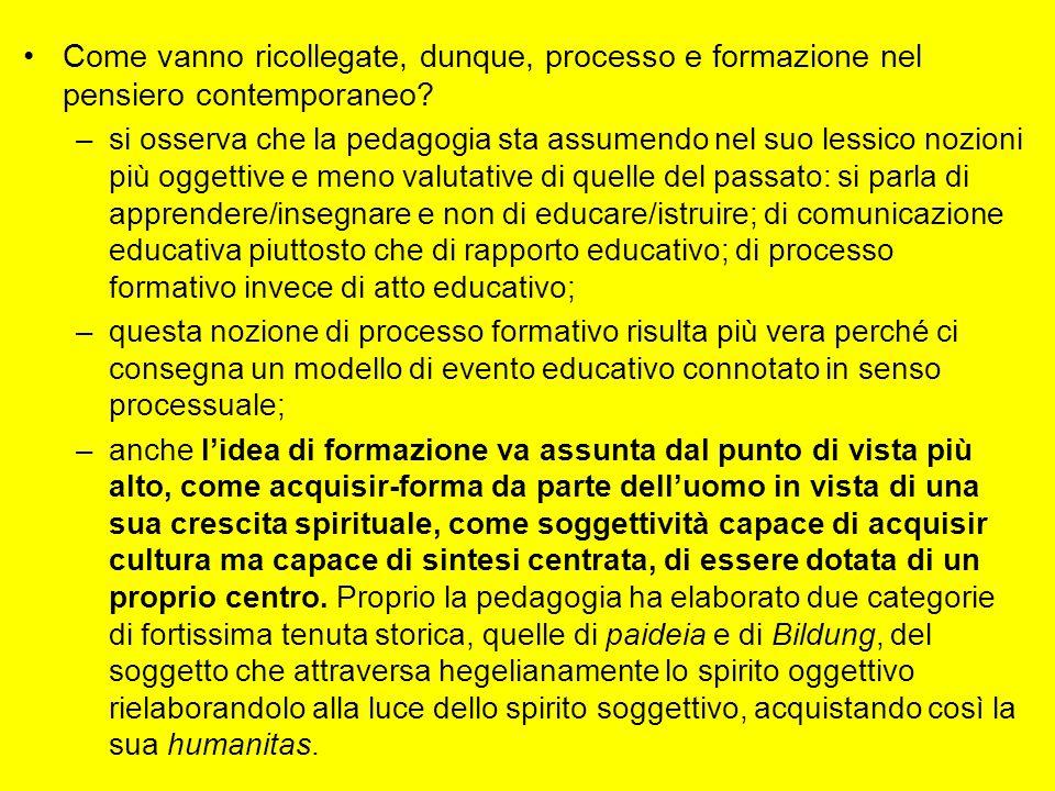 Come vanno ricollegate, dunque, processo e formazione nel pensiero contemporaneo? –si osserva che la pedagogia sta assumendo nel suo lessico nozioni p
