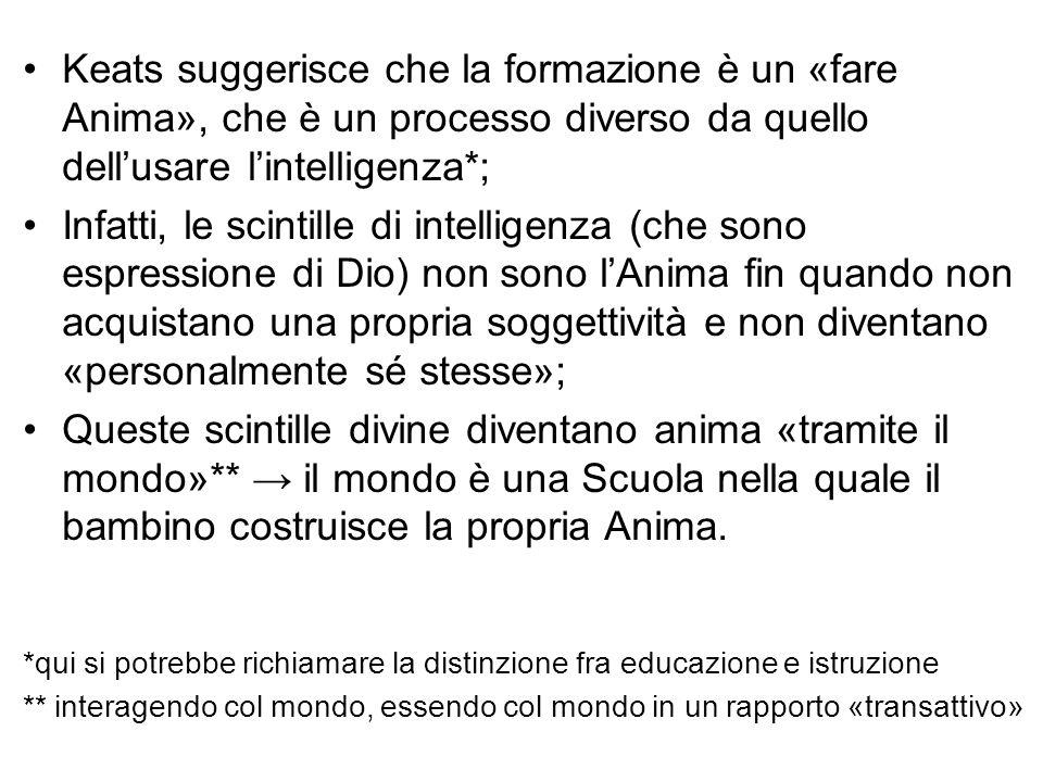Keats suggerisce che la formazione è un «fare Anima», che è un processo diverso da quello dell'usare l'intelligenza*; Infatti, le scintille di intelli