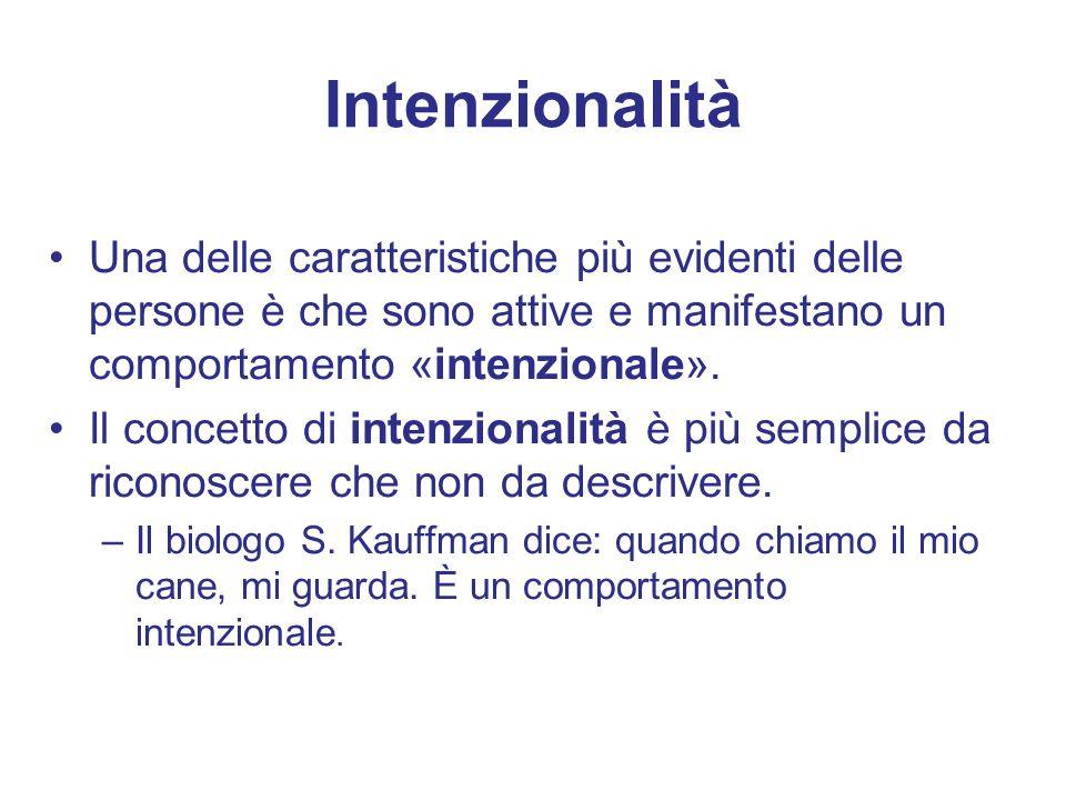 Intenzionalità Una delle caratteristiche più evidenti delle persone è che sono attive e manifestano un comportamento «intenzionale». Il concetto di in