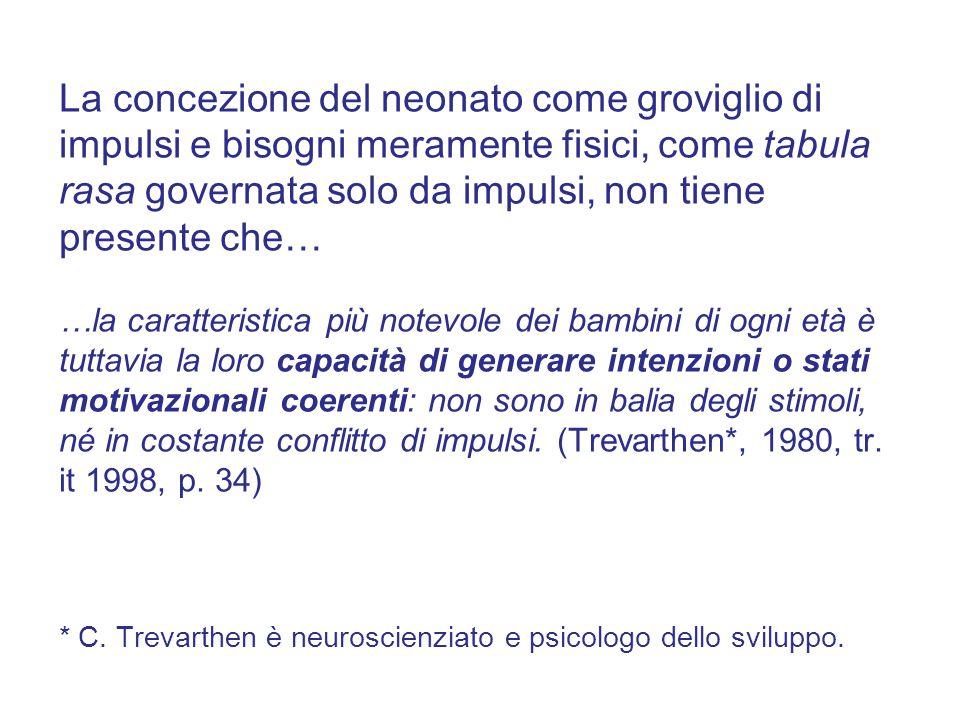 La concezione del neonato come groviglio di impulsi e bisogni meramente fisici, come tabula rasa governata solo da impulsi, non tiene presente che… …l