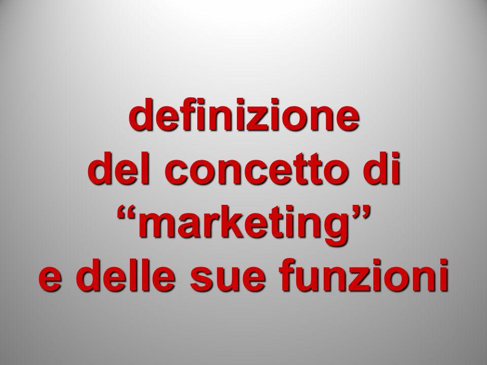 definizione del concetto di marketing e delle sue funzioni