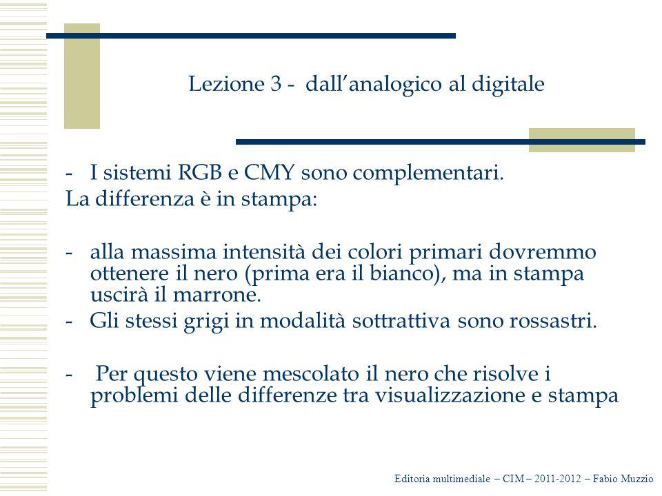 Lezione 3 - dall'analogico al digitale -I sistemi RGB e CMY sono complementari. La differenza è in stampa: -alla massima intensità dei colori primari