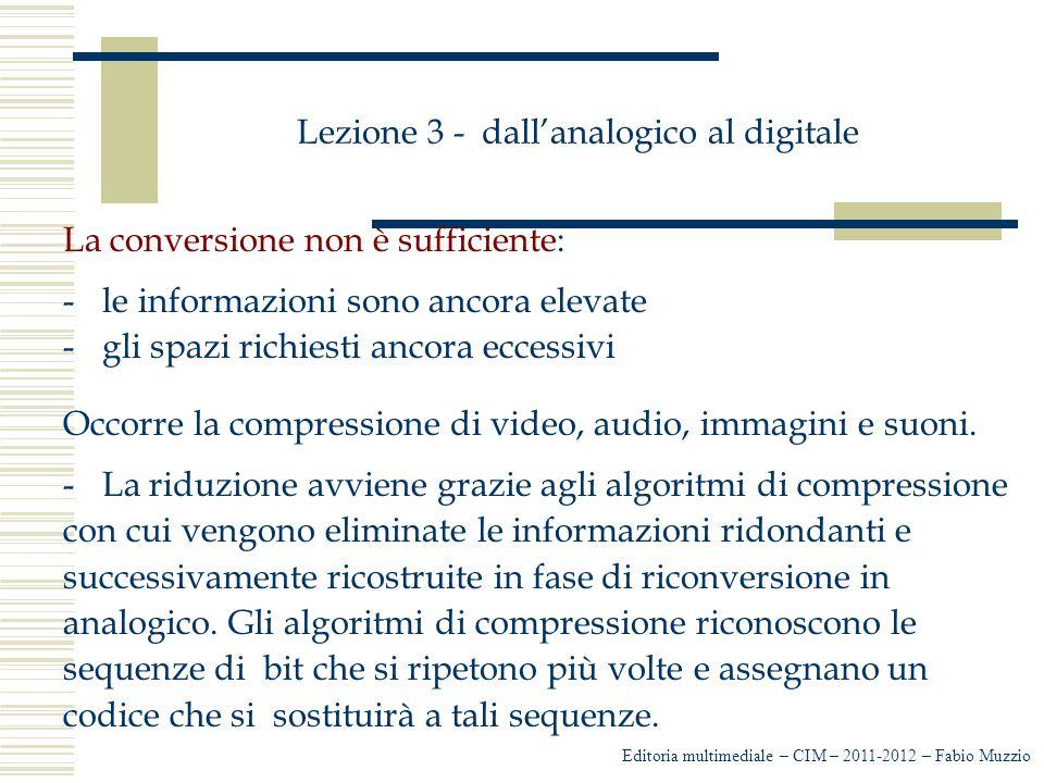 Lezione 3 - dall'analogico al digitale La conversione non è sufficiente: -le informazioni sono ancora elevate -gli spazi richiesti ancora eccessivi Oc