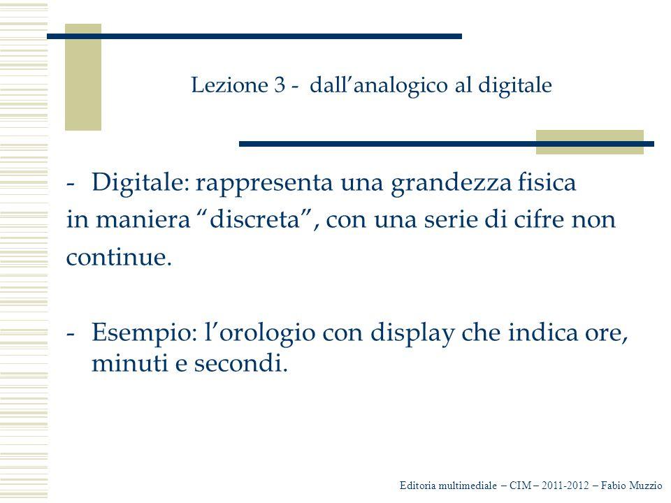Lezione 3 - dall'analogico al digitale -Il formato digitale offre vantaggi: è nell'utilizzo che ne deriva, dalla TV -Versatilità: è nell'utilizzo che ne deriva, dalla TV al telefono, dal CD al DVD è nella riduzione dello spazio occupato -Quantitativo: è nella riduzione dello spazio occupato dalla singola informazione nei supporti a vantaggio dell'incremento delle informazioni con la compressione abbiamo -- Qualitativo: con la compressione abbiamo la riduzione del numero di informazioni, ma non c'è perdita delle stesse.