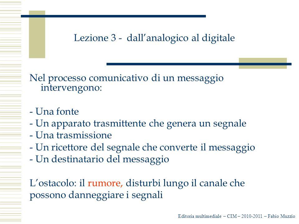 Lezione 3 - dall'analogico al digitale Nel processo comunicativo di un messaggio intervengono: - Una fonte - Un apparato trasmittente che genera un se
