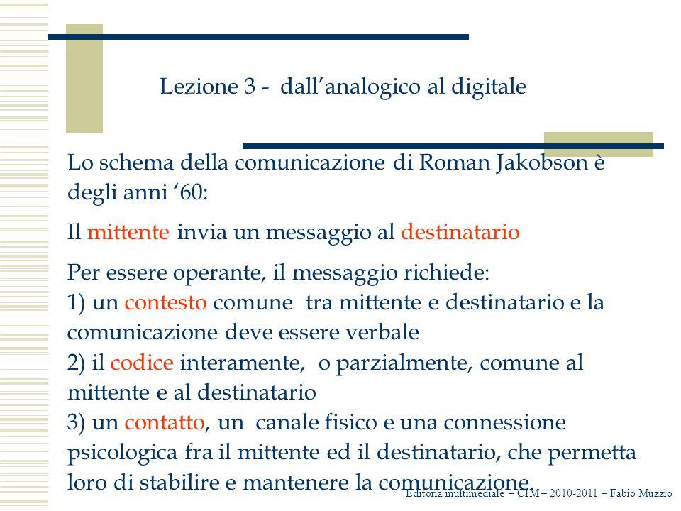 Lezione 3 - dall'analogico al digitale Lo schema della comunicazione di Roman Jakobson è degli anni '60: Il mittente invia un messaggio al destinatari