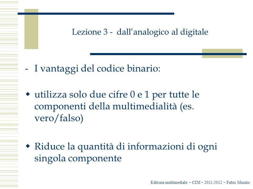 Lezione 3 - dall'analogico al digitale -Gli svantaggi del codice binario: -il digitale deve essere riconvertito in analogico -il digitale non può essere compreso dall'uomo e a una trasformazione da analogico a digitale, deve seguire una riconversione da digitale ad analogico.