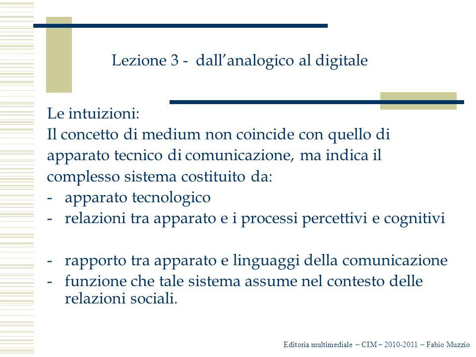 Lezione 3 - dall'analogico al digitale Le intuizioni: Il concetto di medium non coincide con quello di apparato tecnico di comunicazione, ma indica il