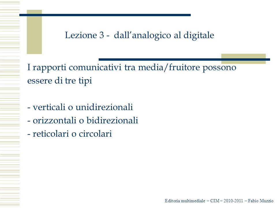 Lezione 3 - dall'analogico al digitale I rapporti comunicativi tra media/fruitore possono essere di tre tipi - verticali o unidirezionali - orizzontal