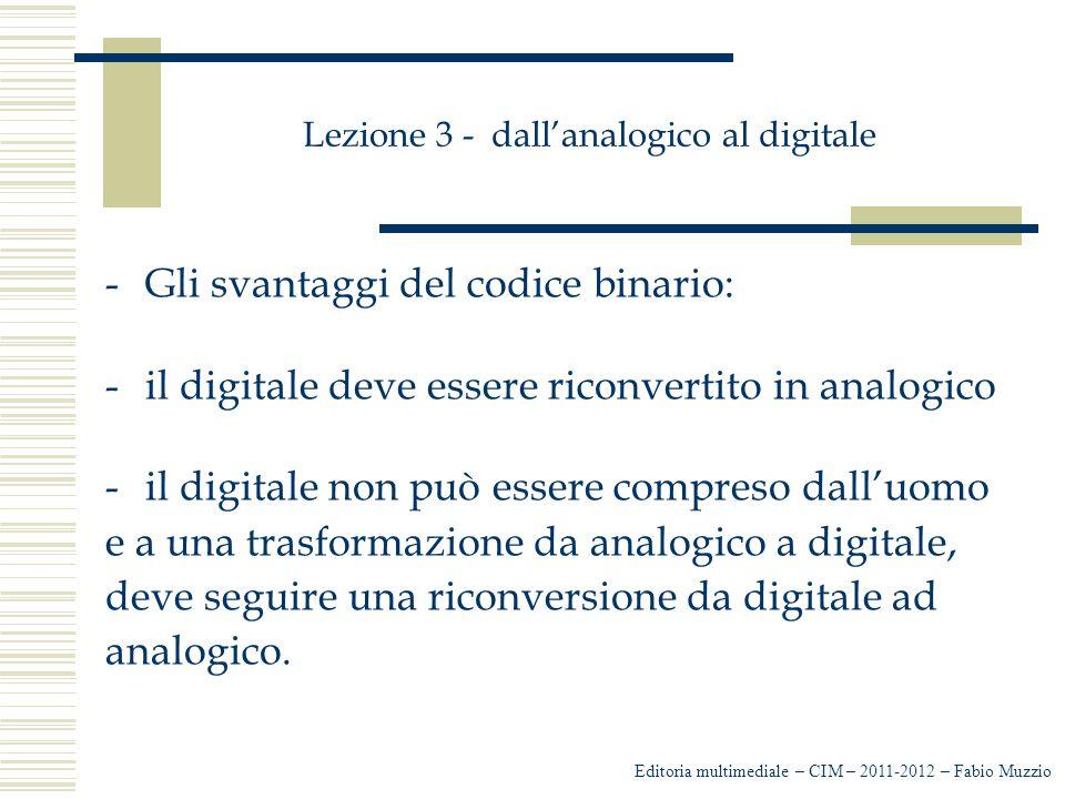 Lezione 3 - dall'analogico al digitale -Gli svantaggi del codice binario: -il digitale deve essere riconvertito in analogico -il digitale non può esse