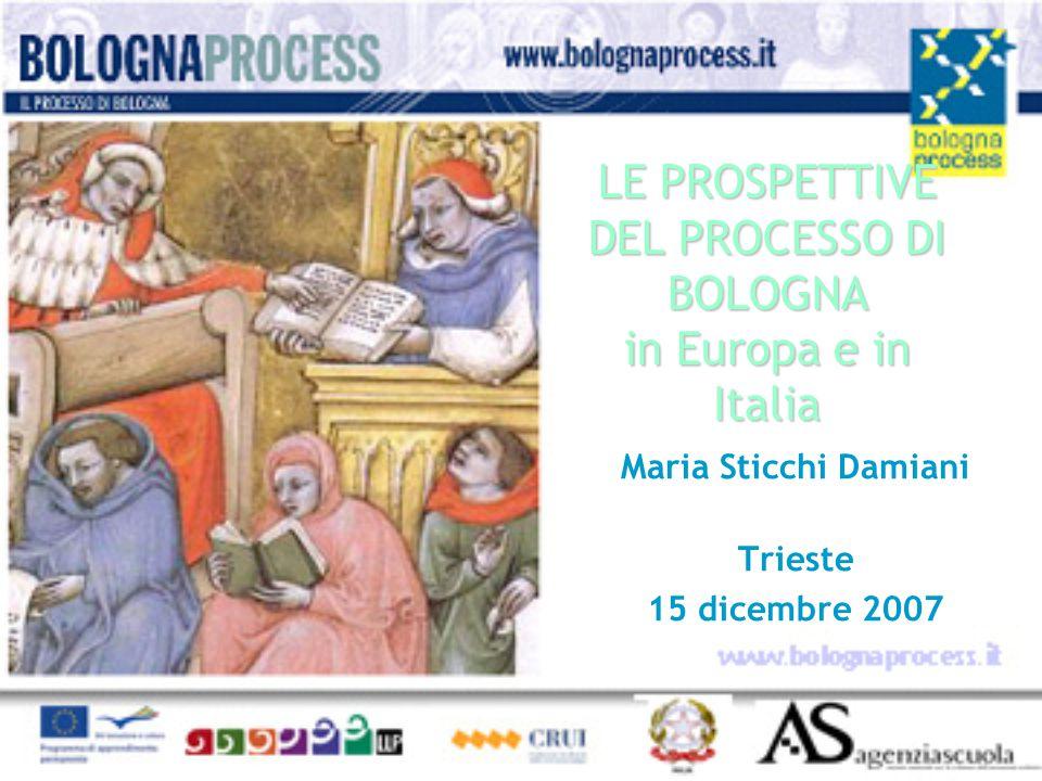 LE PROSPETTIVE DEL PROCESSO DI BOLOGNA in Europa e in Italia Maria Sticchi Damiani Trieste 15 dicembre 2007
