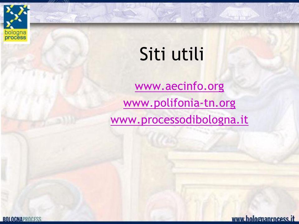 Siti utili www.aecinfo.org www.polifonia-tn.org www.processodibologna.it