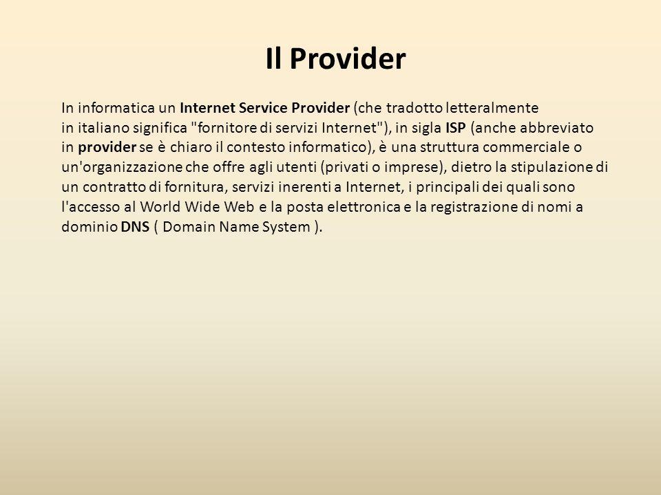 Il dominio Il dominio internet è un nome che identifica in maniera precisa il nome di un privato, ente, azienda o un'organizzazione su Internet.