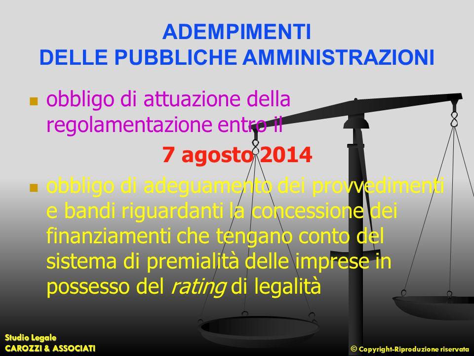 © Copyright-Riproduzione riservata Studio Legale CAROZZI & ASSOCIATI ADEMPIMENTI DELLE PUBBLICHE AMMINISTRAZIONI obbligo di attuazione della regolamen