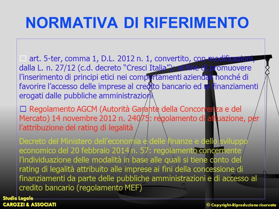 © Copyright-Riproduzione riservata Studio Legale CAROZZI & ASSOCIATI NORMATIVA DI RIFERIMENTO art. 5-ter, comma 1, D.L. 2012 n. 1, convertito, con mod
