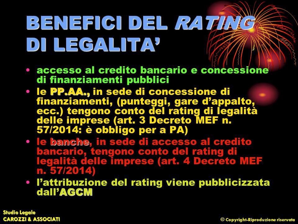 © Copyright-Riproduzione riservata Studio Legale CAROZZI & ASSOCIATI BENEFICI DEL RATING DI LEGALITA' accesso al credito bancario e concessione di fin