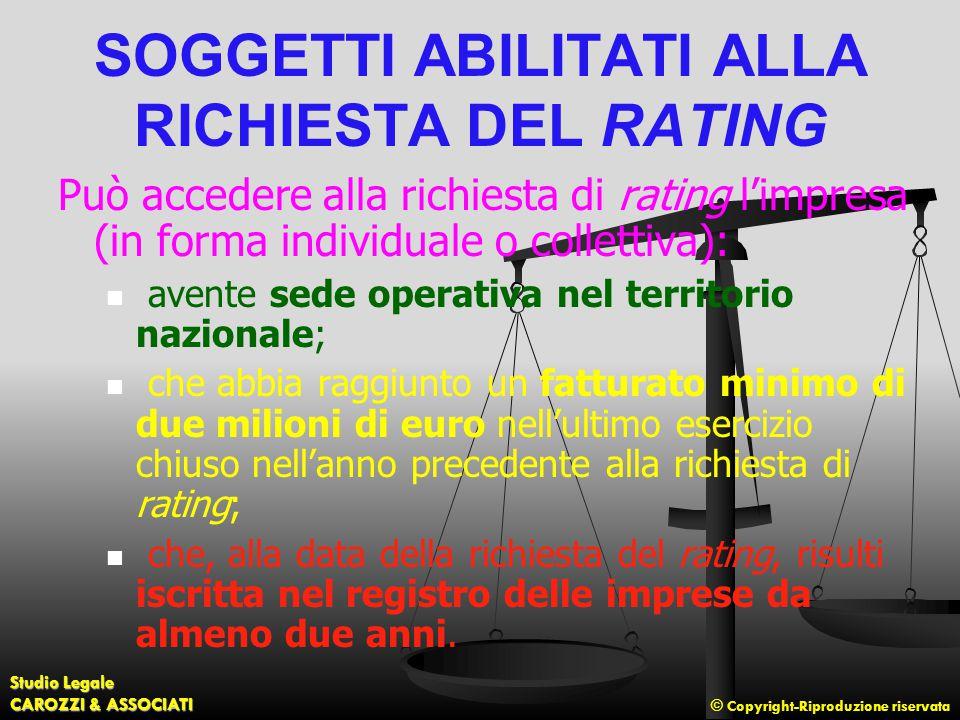 © Copyright-Riproduzione riservata Studio Legale CAROZZI & ASSOCIATI SOGGETTI ABILITATI ALLA RICHIESTA DEL RATING Può accedere alla richiesta di ratin