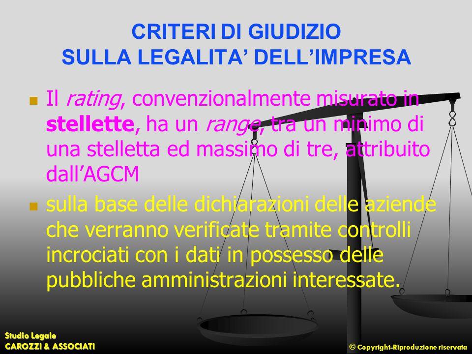 © Copyright-Riproduzione riservata Studio Legale CAROZZI & ASSOCIATI CRITERI DI GIUDIZIO SULLA LEGALITA' DELL'IMPRESA Il rating, convenzionalmente mis