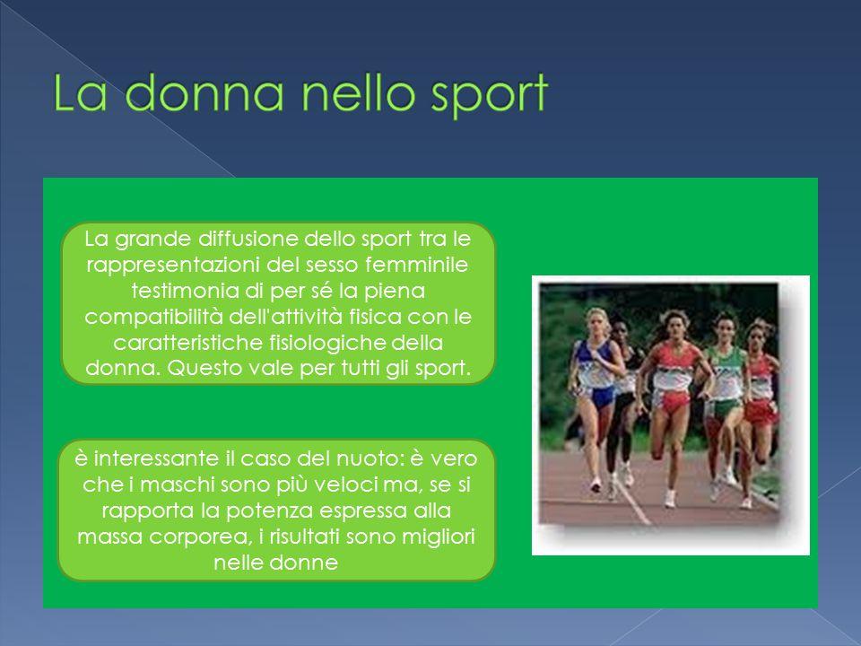 La grande diffusione dello sport tra le rappresentazioni del sesso femminile testimonia di per sé la piena compatibilità dell attività fisica con le caratteristiche fisiologiche della donna.