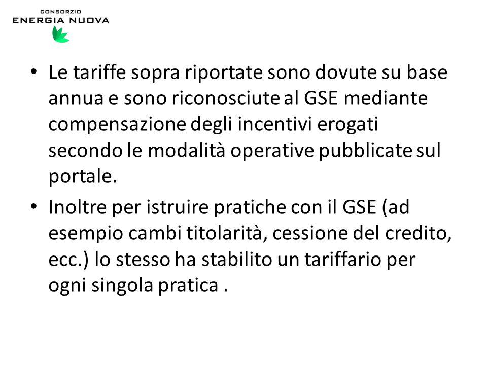 Le tariffe sopra riportate sono dovute su base annua e sono riconosciute al GSE mediante compensazione degli incentivi erogati secondo le modalità operative pubblicate sul portale.