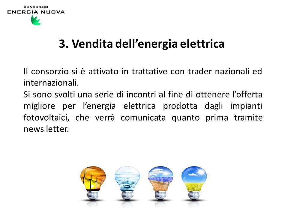 3. Vendita dell'energia elettrica Il consorzio si è attivato in trattative con trader nazionali ed internazionali. Si sono svolti una serie di incontr