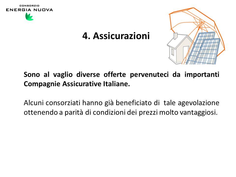 4. Assicurazioni Sono al vaglio diverse offerte pervenuteci da importanti Compagnie Assicurative Italiane. Alcuni consorziati hanno già beneficiato di