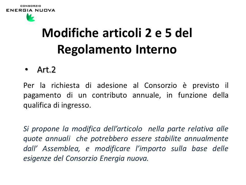 Art.2 Art.2 Per la richiesta di adesione al Consorzio è previsto il pagamento di un contributo annuale, in funzione della qualifica di ingresso.