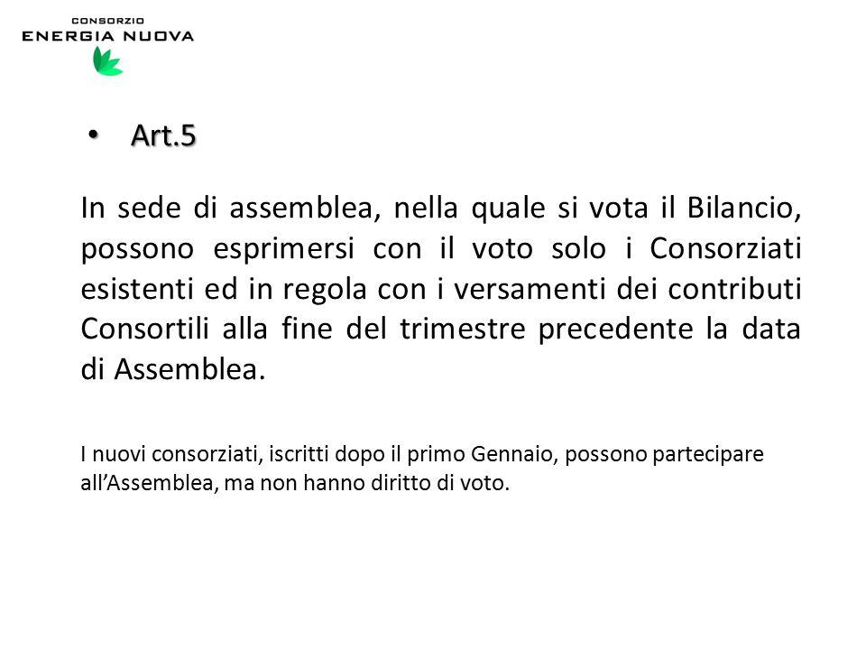 Art.5 Art.5 In sede di assemblea, nella quale si vota il Bilancio, possono esprimersi con il voto solo i Consorziati esistenti ed in regola con i versamenti dei contributi Consortili alla fine del trimestre precedente la data di Assemblea.