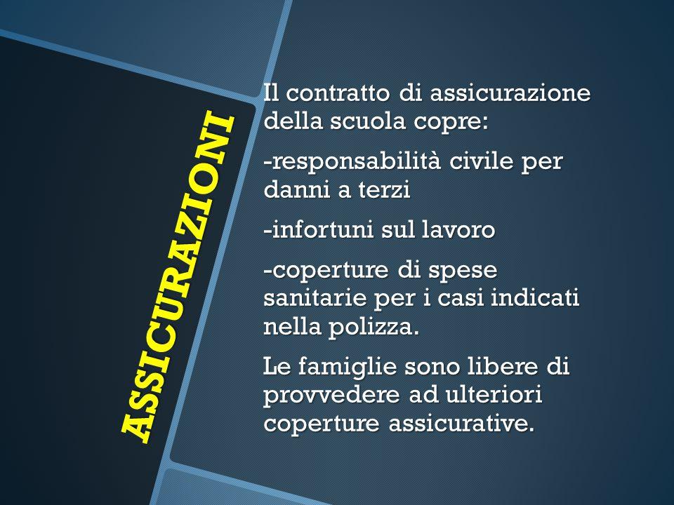 ASSICURAZIONI Il contratto di assicurazione della scuola copre: -responsabilità civile per danni a terzi -infortuni sul lavoro -coperture di spese san