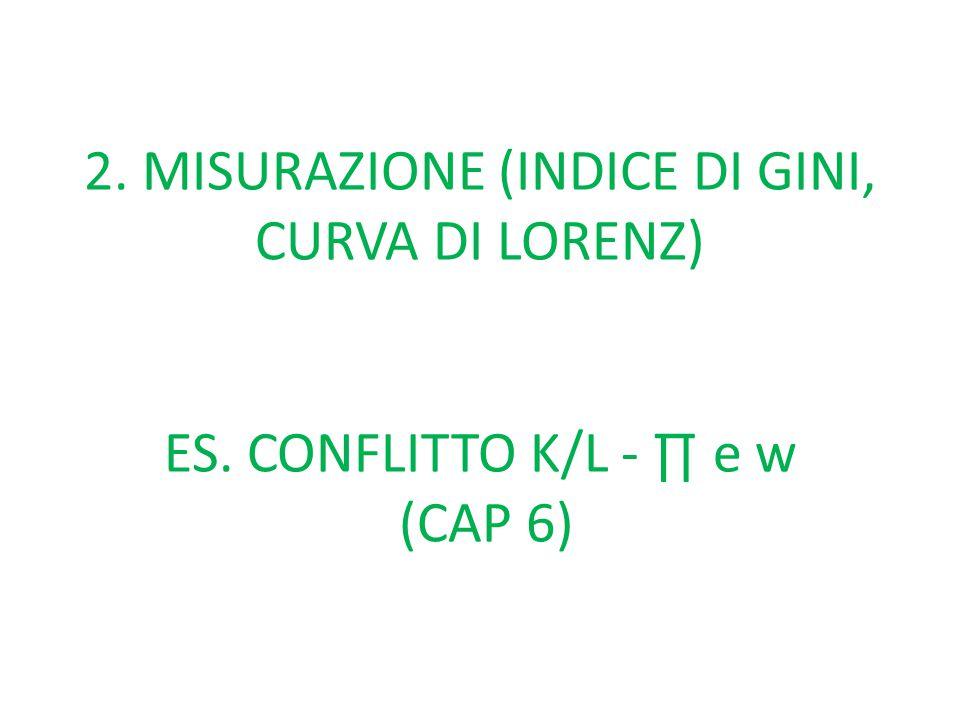 2. MISURAZIONE (INDICE DI GINI, CURVA DI LORENZ) ES. CONFLITTO K/L - ∏ e w (CAP 6)